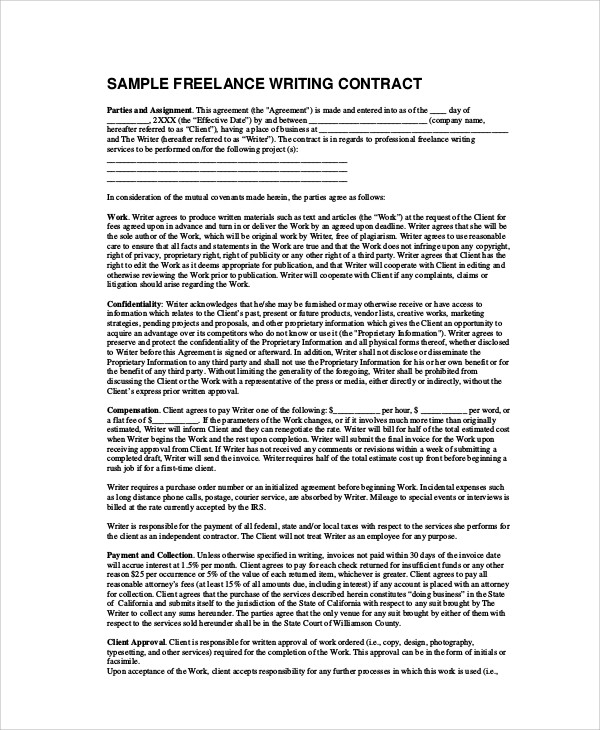 5 Freelance Contract Samples  Templates Sample Templates - contract clauses you should never freelance without