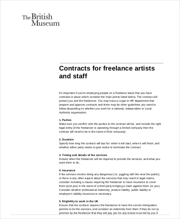 Sample Freelance Contract Agreement - 7+ Examples in Word, PDF