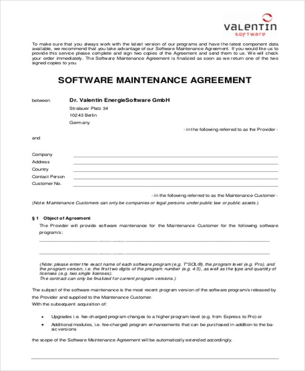 6+ Sample Maintenance Contract Agreements Sample Templates - maintenance agreement