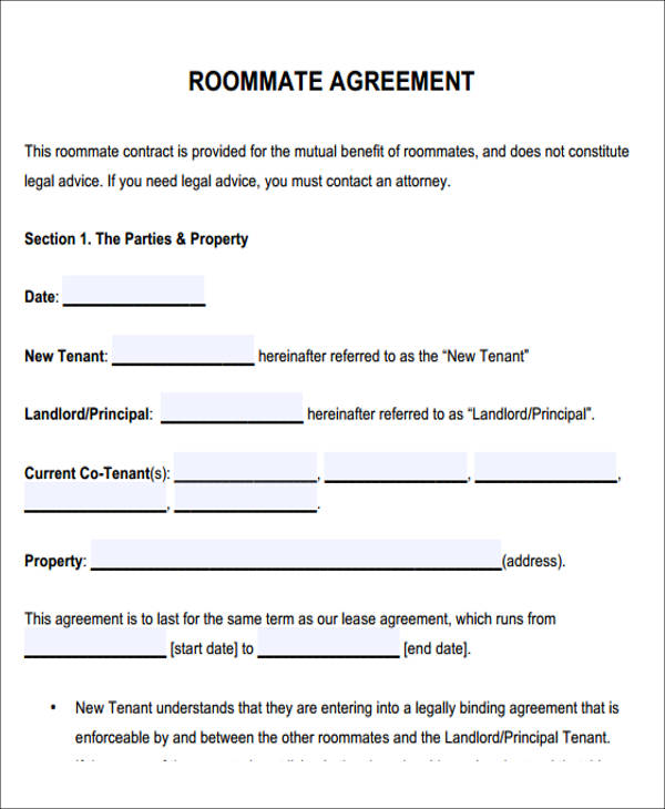 roommate rental agreement template - Ozilalmanoof - Room Rental Agreement Form