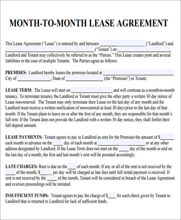 Lease Agreement Form For Roommate | Cover Letter Examples