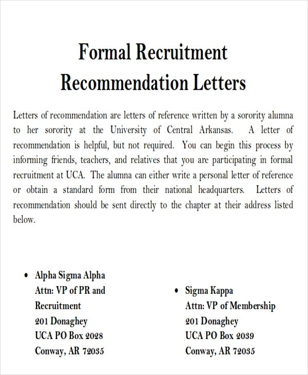 sample sorority recommendation request letter - Ozilalmanoof - Sample Recommendation Request Letter
