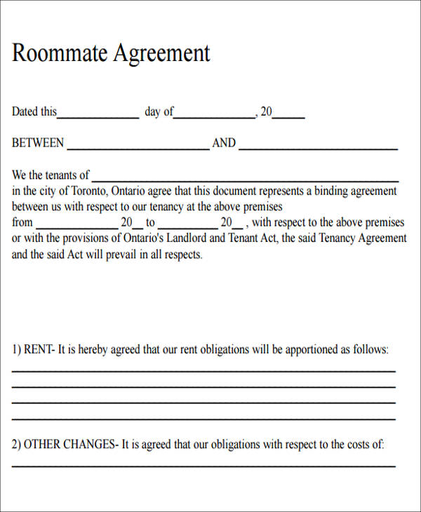 High Quality ... 6+ Sample Roommate Rental Agreement Form   Examples In Word, PDF    Roommate Agreement ... Home Design Ideas