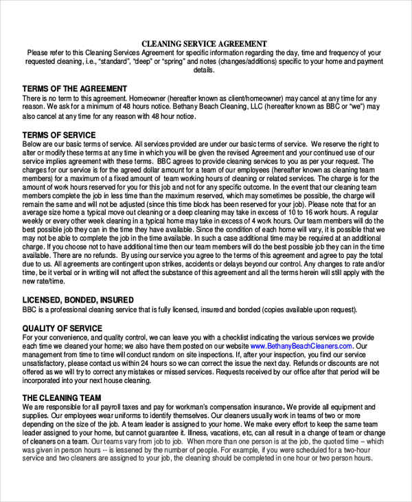 7+ Sample Cleaning Contract Agreements Sample Templates - sample cleaning contract template