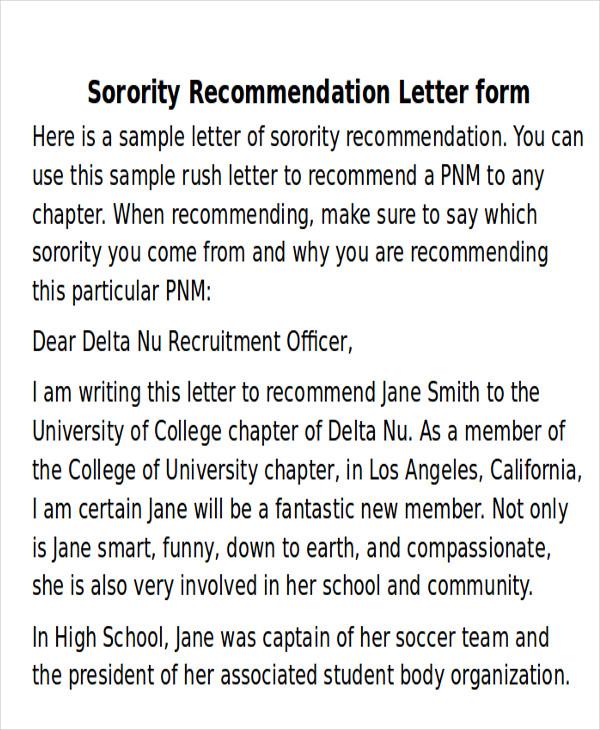 recommendation letter sorority