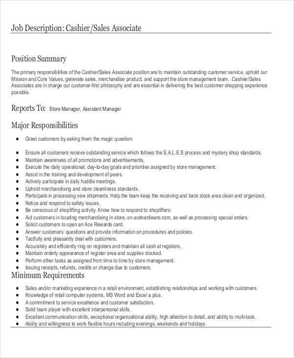 8+ Stock Clerk Job Description Samples Sample Templates - stock clerk job description