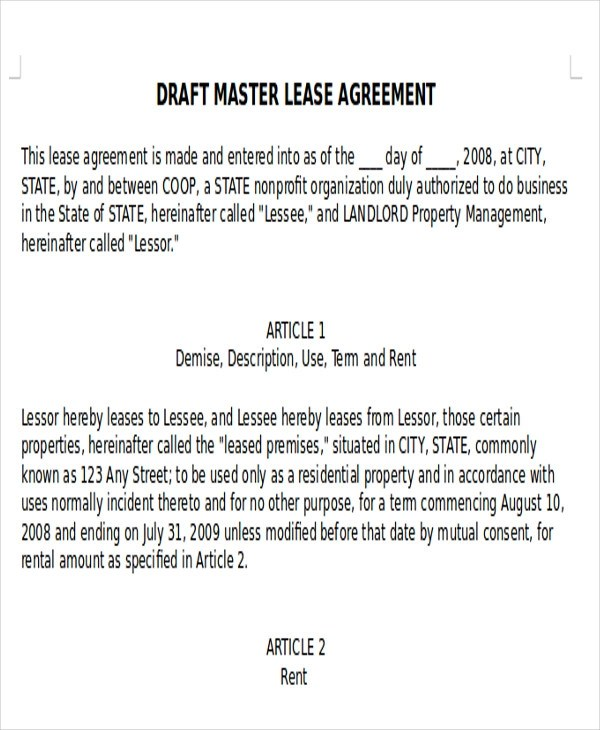 7+ Master Lease Agreement Samples Sample Templates