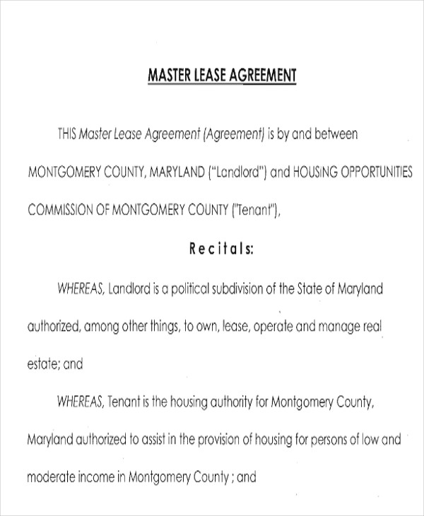 7+ Master Lease Agreement Sample - Examples in Word, PDF - lease agreements sample