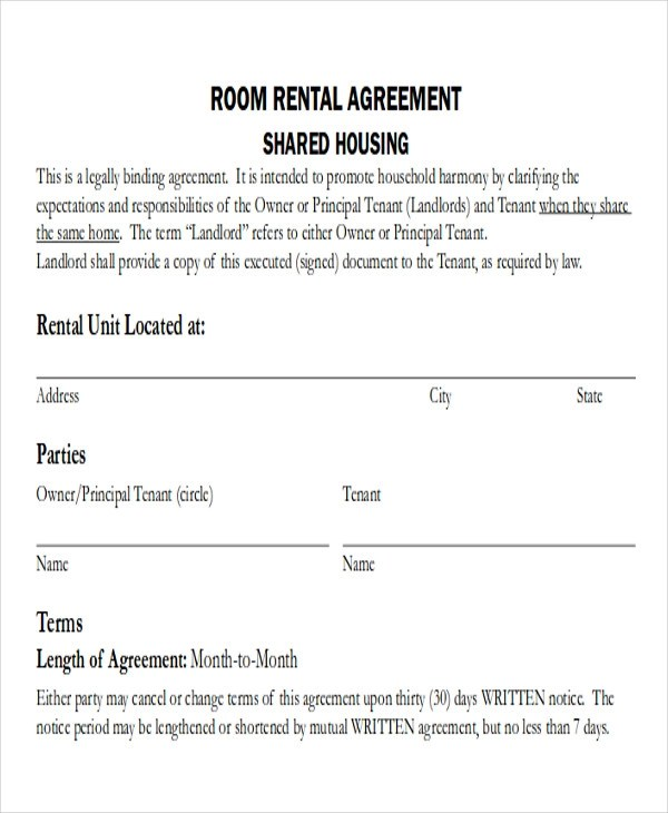 8+ Room Rental Agreement Form Sample - Examples in Word, PDF - simple rental agreements