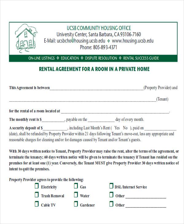 8+ Room Rental Agreement Form Samples Sample Templates - room rental agreement