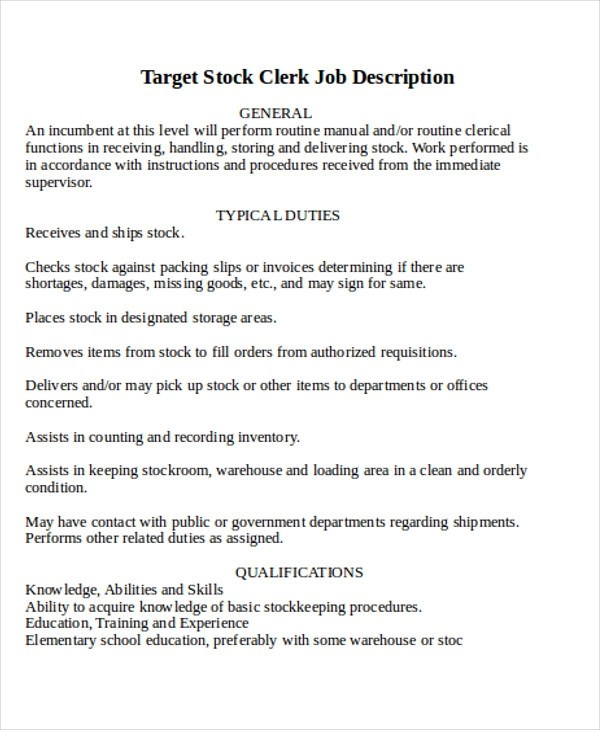 Stock Clerk Job Description Sample - 8+ Examples in Word, PDF - stock clerk job description