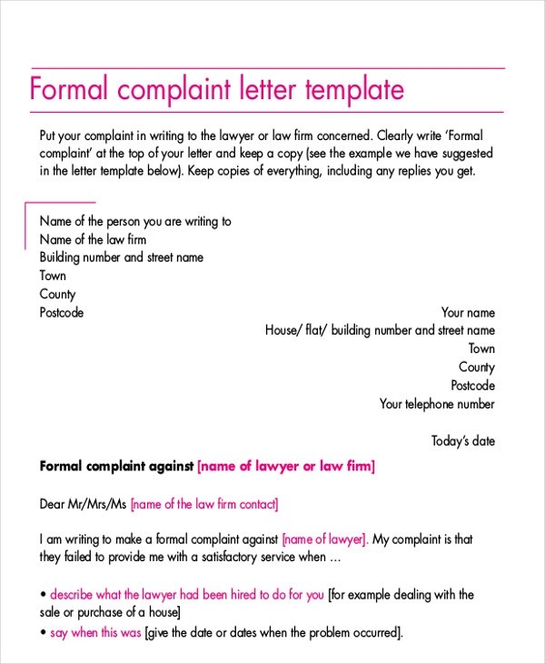 formal complaint letter template word - Onwebioinnovate