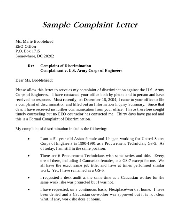 7+ Sample Formal Complaint Letters Sample Templates