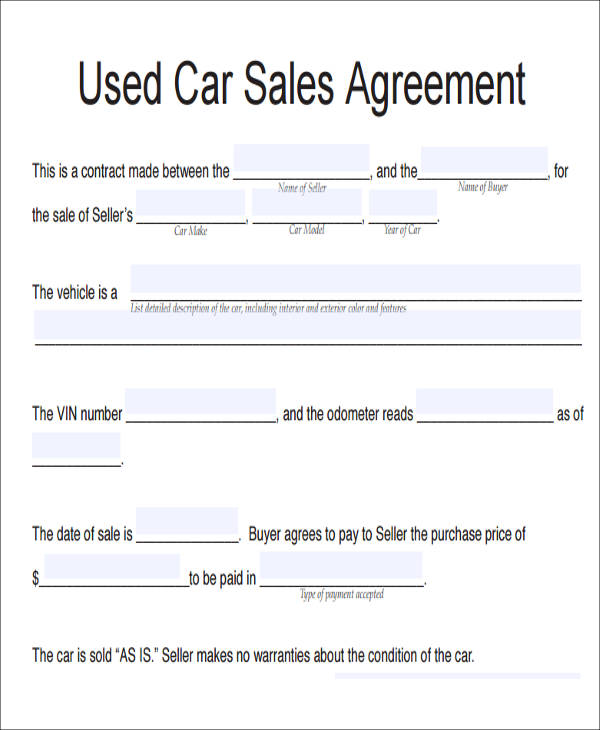 10+ Vehicle Sales Agreement Samples Sample Templates - Sample Sales Agreement