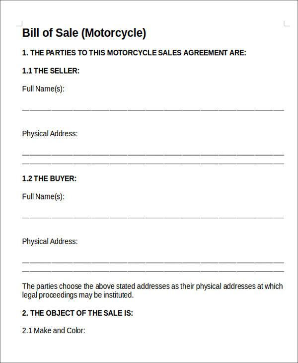 simple bill of sales