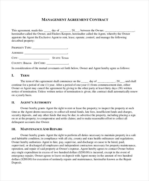 7+ Sample Contract Management Agreements Sample Templates - management agreements