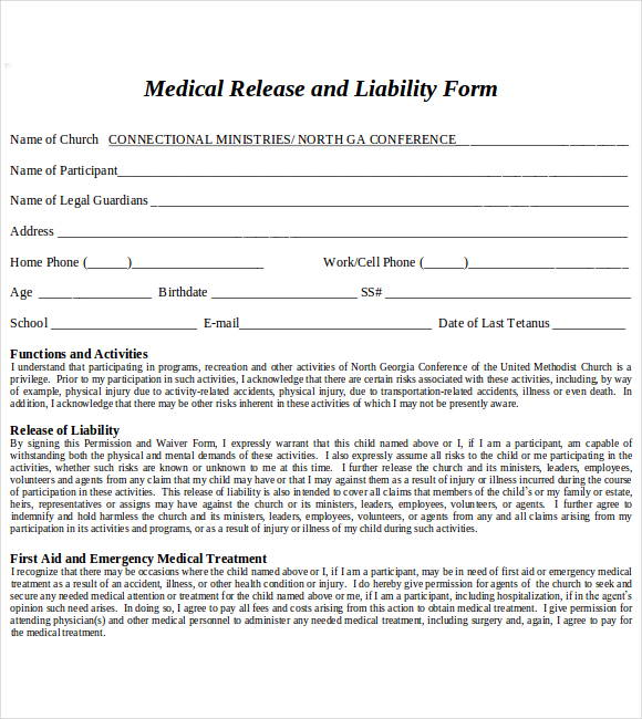 Medical Liability Release Form Sample  Free Printable Dot Paper