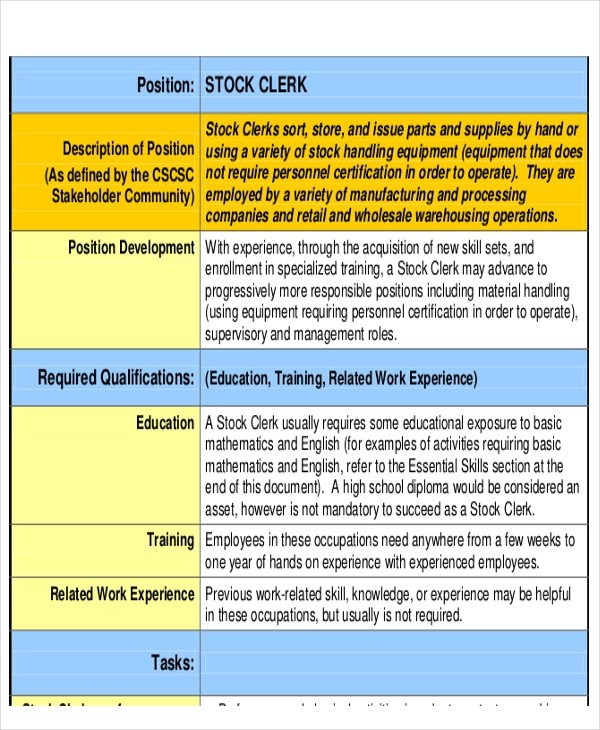 11+ Stock Job Description Samples Sample Templates - stock clerk job description