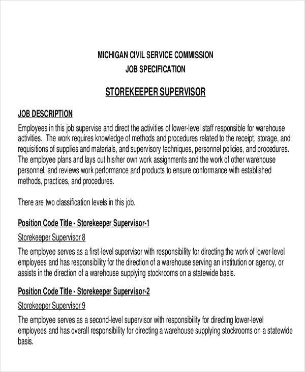 11+ Stock Job Description Samples Sample Templates - Stock Job Description