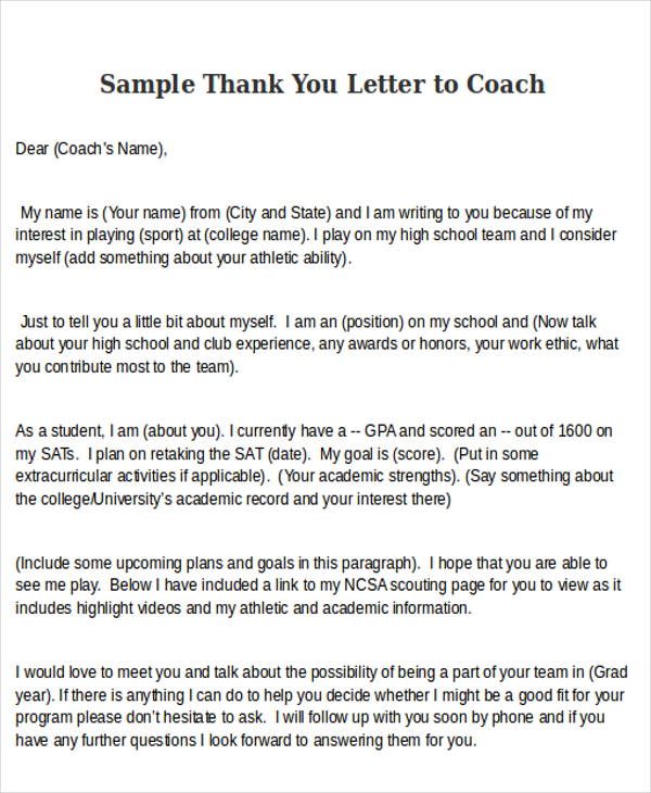 6+ Sample Thank-You Letters to Coach Sample Templates - thank you letter to coach