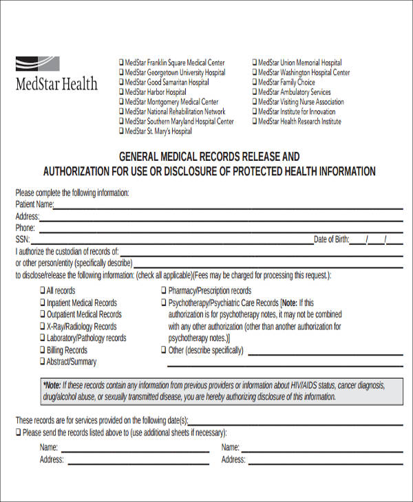 9+ Release of Medical Information Form Samples Sample Templates - Medical Information Release Form