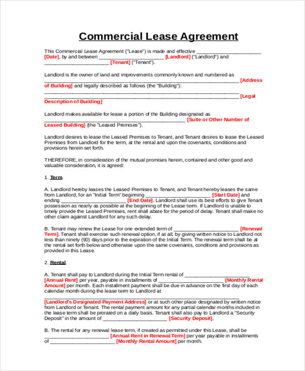 9+ Business Lease Agreement Samples Sample Templates - commercial rent agreement format