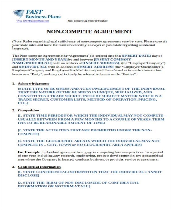 10+ Sample Non-Compete Agreements Sample Templates