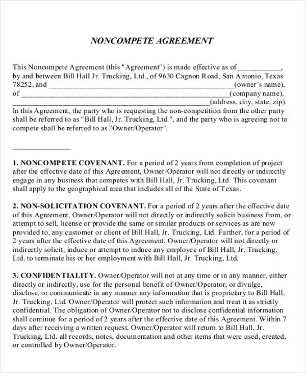 Business Templates Noncompete Agreement Choice Image - Business