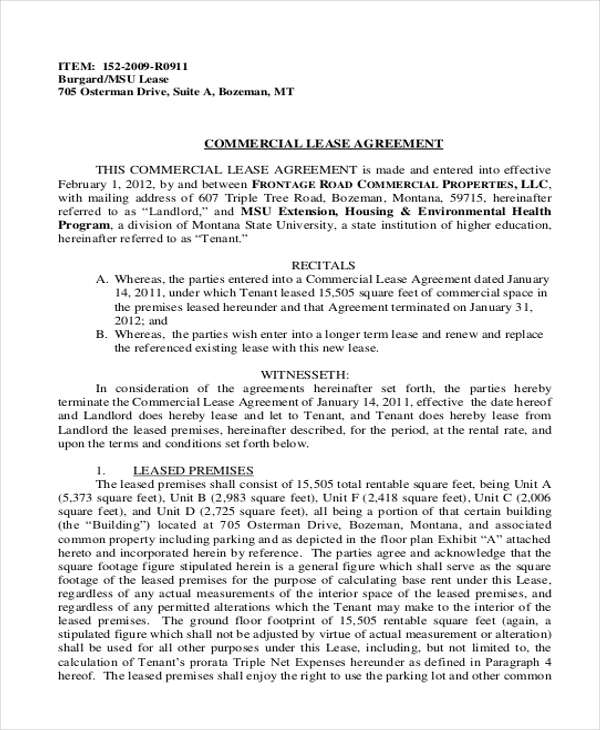 9+ Business Lease Agreement Samples Sample Templates