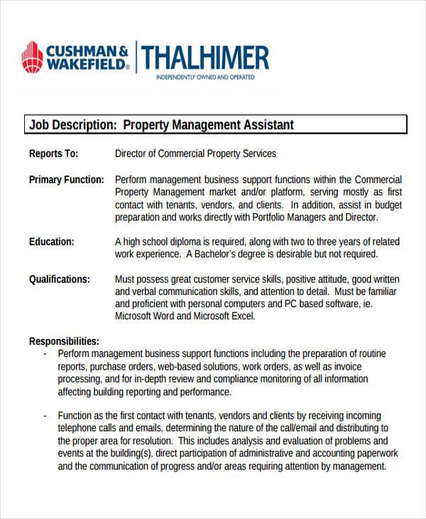 13 Management Job Description Samples Sample Templates - property management job description