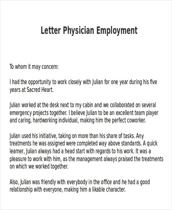 7+ Sample Physician Letter of Recommendation \u2013 Word, PDF Sample - doctor letter for work
