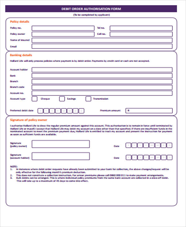 Attractive Sample Debit Order Form 12 Examples In Word Pdf Debit Order Form   Debit  Order Form Nice Ideas