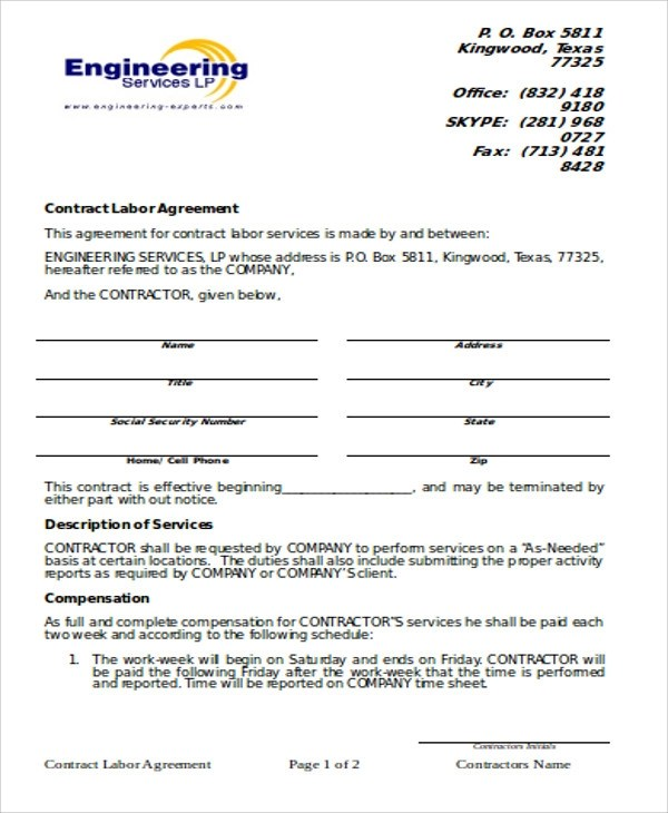 9+ Simple Contract Agreements Sample Templates - simple contract agreement