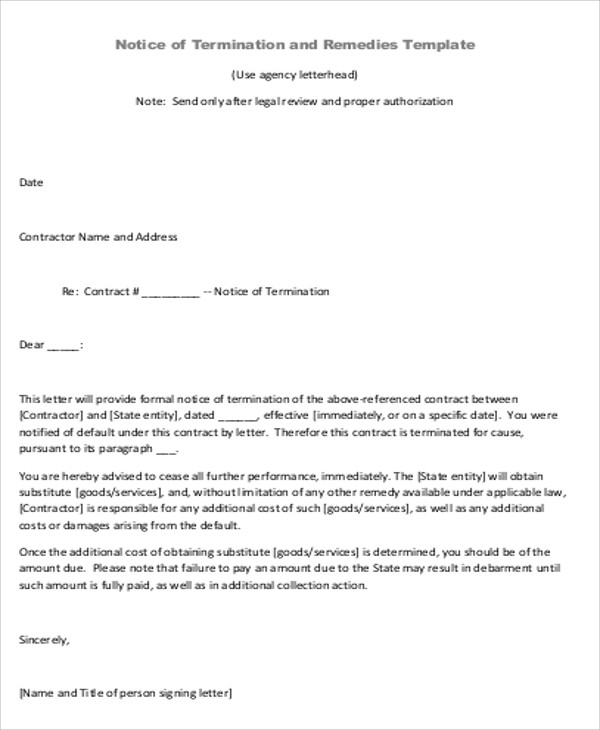 8+ Sample Contract Agreement Letters Sample Templates