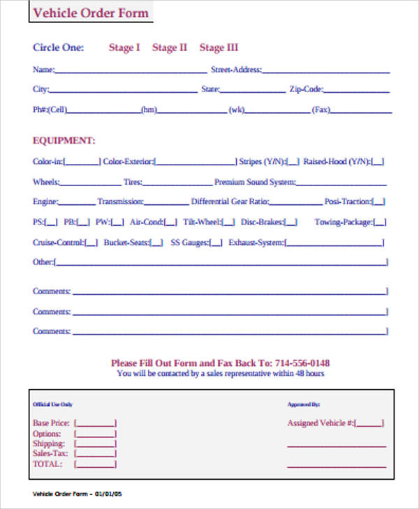 10+ Sample Vehicle Order Forms Sample Templates