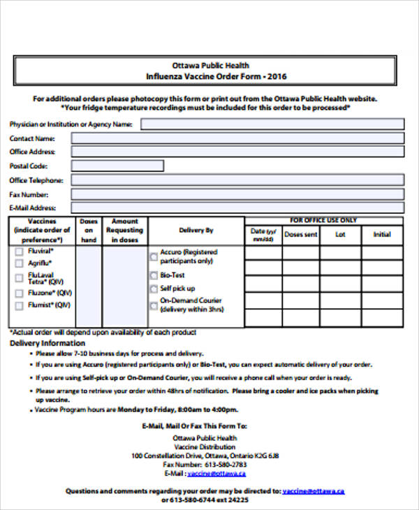 Sample Vaccine Order Form - 9+ Examples in Word, PDF