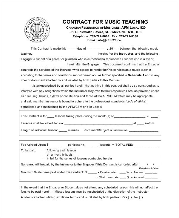 9+ Teacher Agreement Contract Samples \u2013 Word, PDF Sample Templates - Student Contract Templates