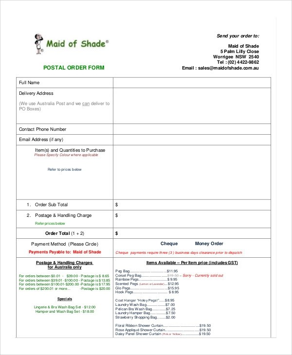 9+ Sample Postal Order Forms Sample Templates