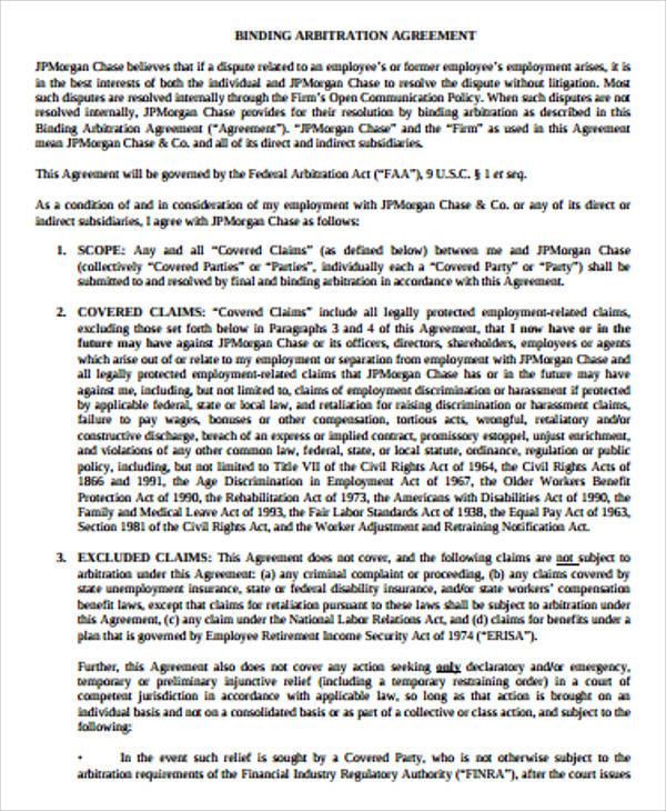9+ Sample Arbitration Agreements Sample Templates
