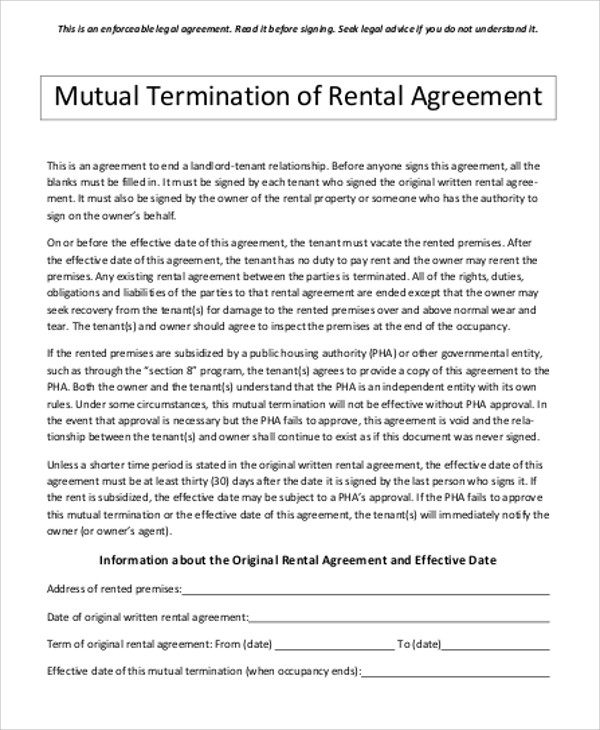8+ Sample Contract Termination Agreements Sample Templates