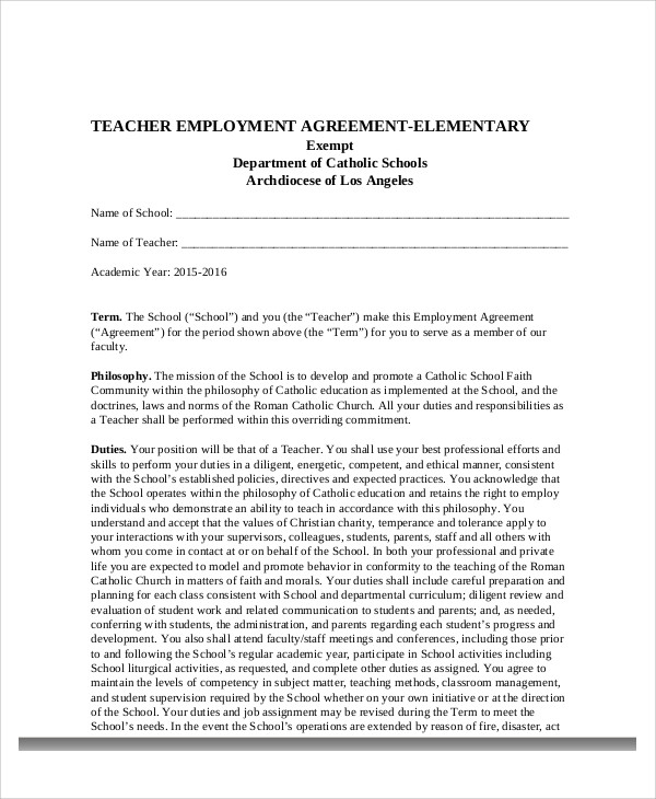 Teacher Agreement Contract Sample - 9+ Examples in Word, PDF - job agreement contract