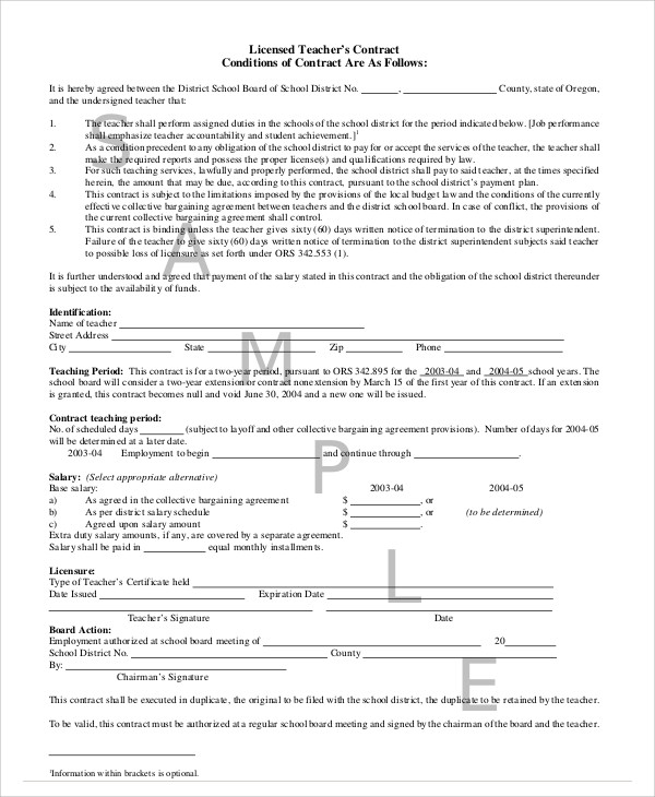 Teacher Agreement Contract Sample   9+ Examples In Word, PDF   Sample  Collective Bargaining