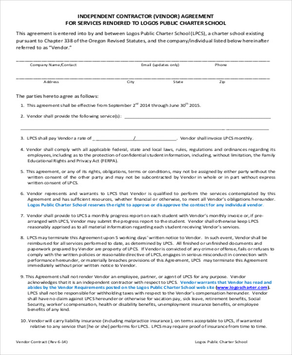 Sample Vendor Contract Agreement - 8+ Examples in Word, PDF