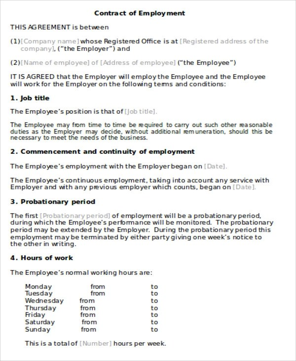 17+ General Employment Agreement Samples  Templates \u2013 PDF, Word - employment agreement contract