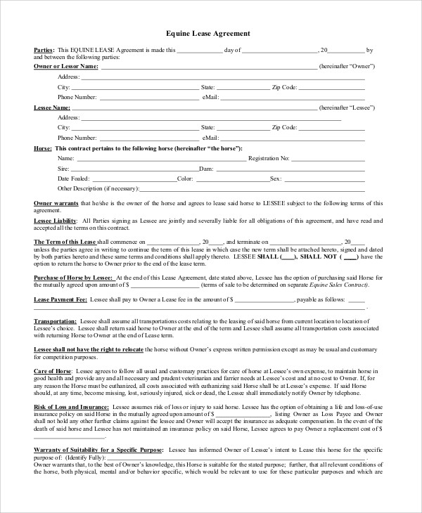 Lease Agreement Contract Sample   9+ Examples In Word, PDF   Sample Horse  Lease
