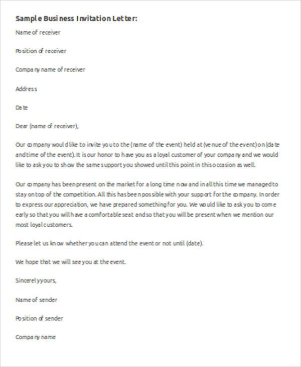 Event invitation letter template resume templateasprovider 7 sample business invitation letter free sample example event invitation letter template stopboris Choice Image