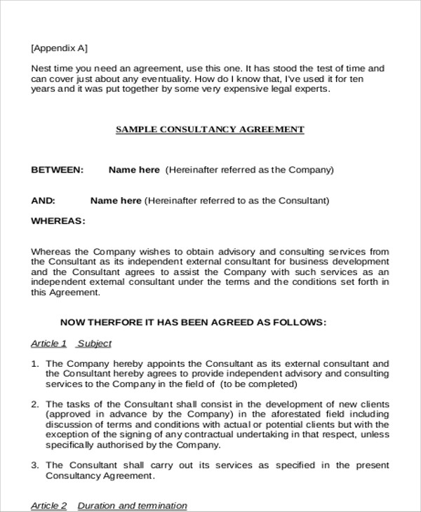 9+ Sample Business Consultant Agreements Sample Templates