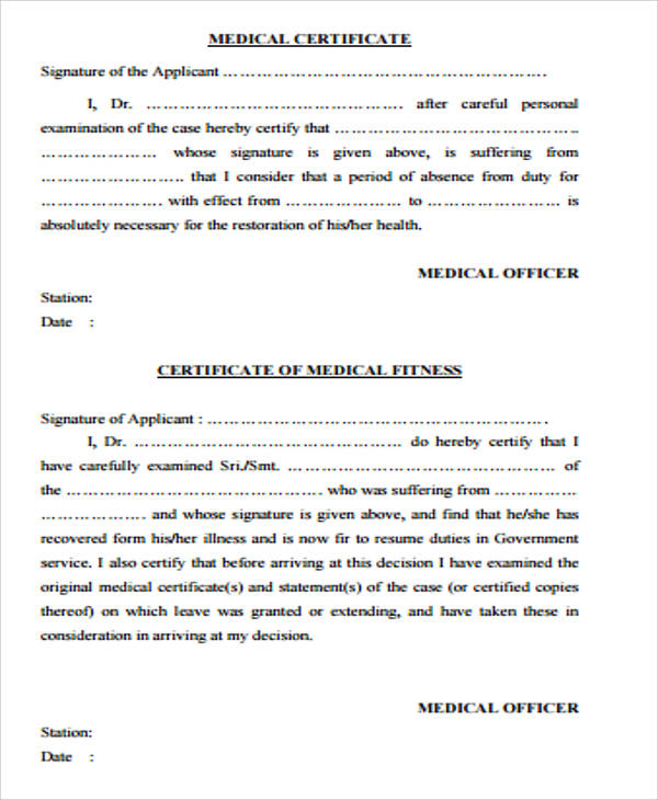 7+ Sample Medical Certificate Forms Sample Templates
