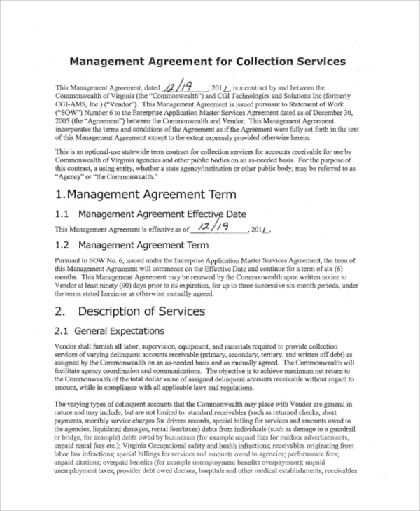 business management agreement - 28 images - 7 sle contract - management agreement
