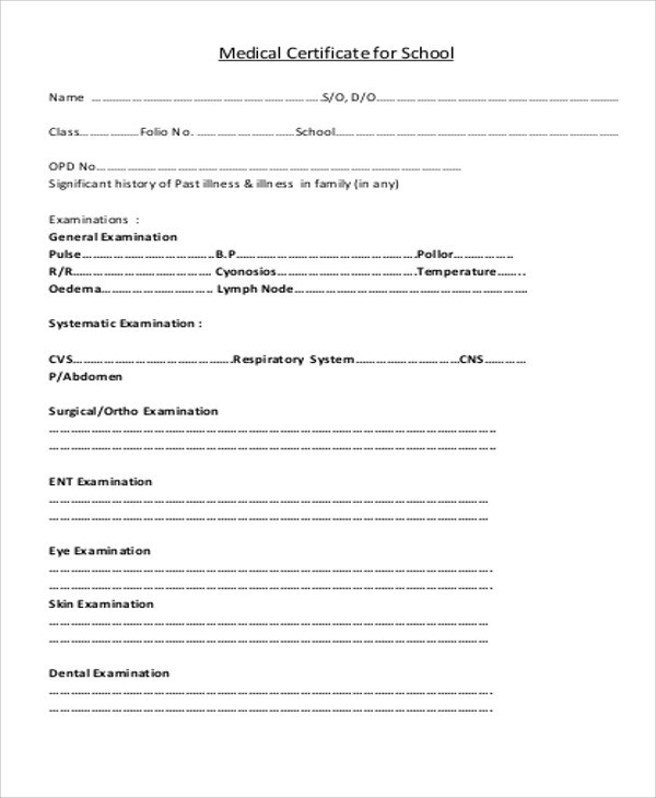Sample Medical Certificate for School - 13+ Examples in Word, PDF